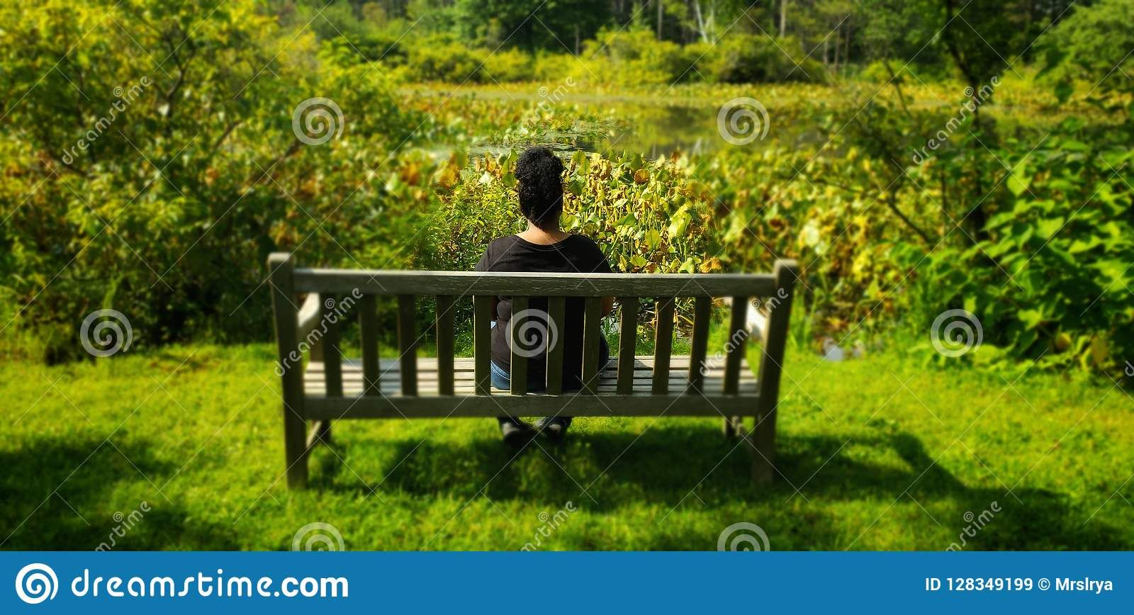 Photo About Girl Sitting On A Park Bench Alone Image Of Meditation Female Color 128349199 Park Bench Bench Park