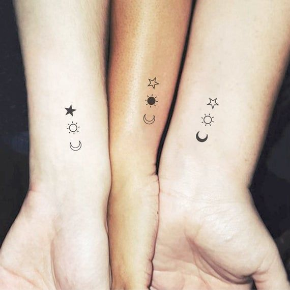 Matching crescent, sun and star temporary tattoos, perfect for best friends and siblings. Set of three plus three. Size: 1.2 in / 3 cm (width) This temporary tattoos are: ·Safe & non-toxic ·FDA-compliant and fun for all ages Small Tattoos last on average 2-5 days. We suggest placing on oil-free
