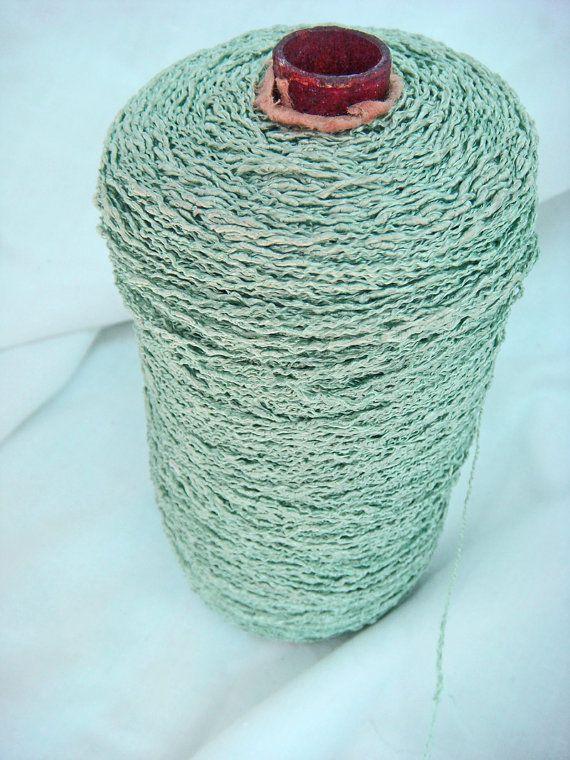huge spool of vintage aqua fiber thread nubby turquoise yarn 11 00