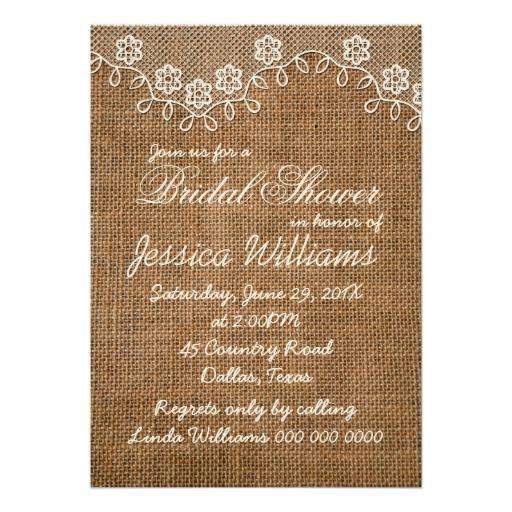 burlap wedding shower decorations   Rustic Bridal Shower Burlap And Lace Custom ...   Wedding Ideas