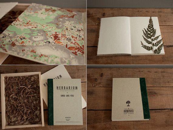 HERBARIUM - flowers - leaves - petals - wood box package - vintage design HERB5005G. $45.00, via Etsy.