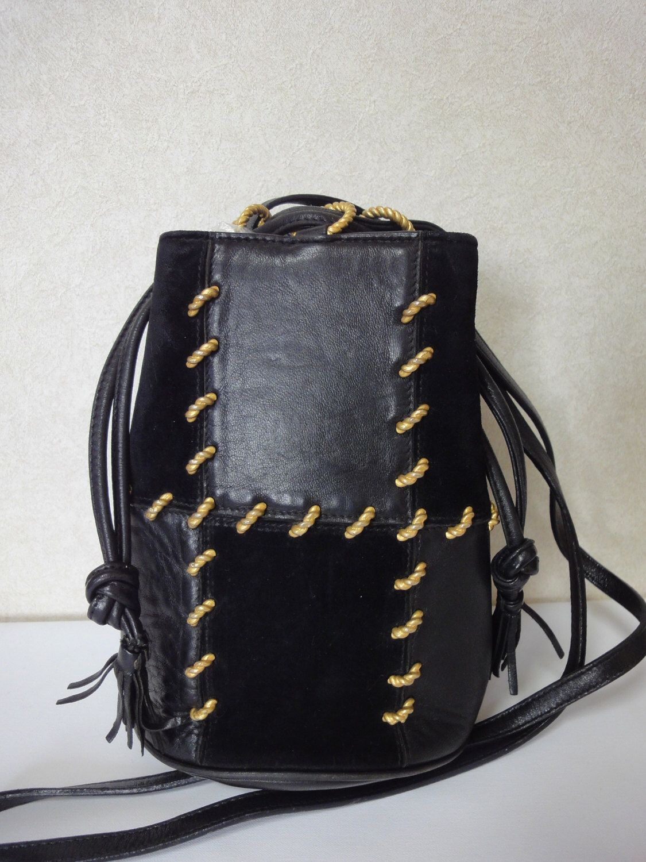 1fa177ee9a5c Leather · Vintage Salvatore Ferragamo black and grey leather mini shoulder  purse.