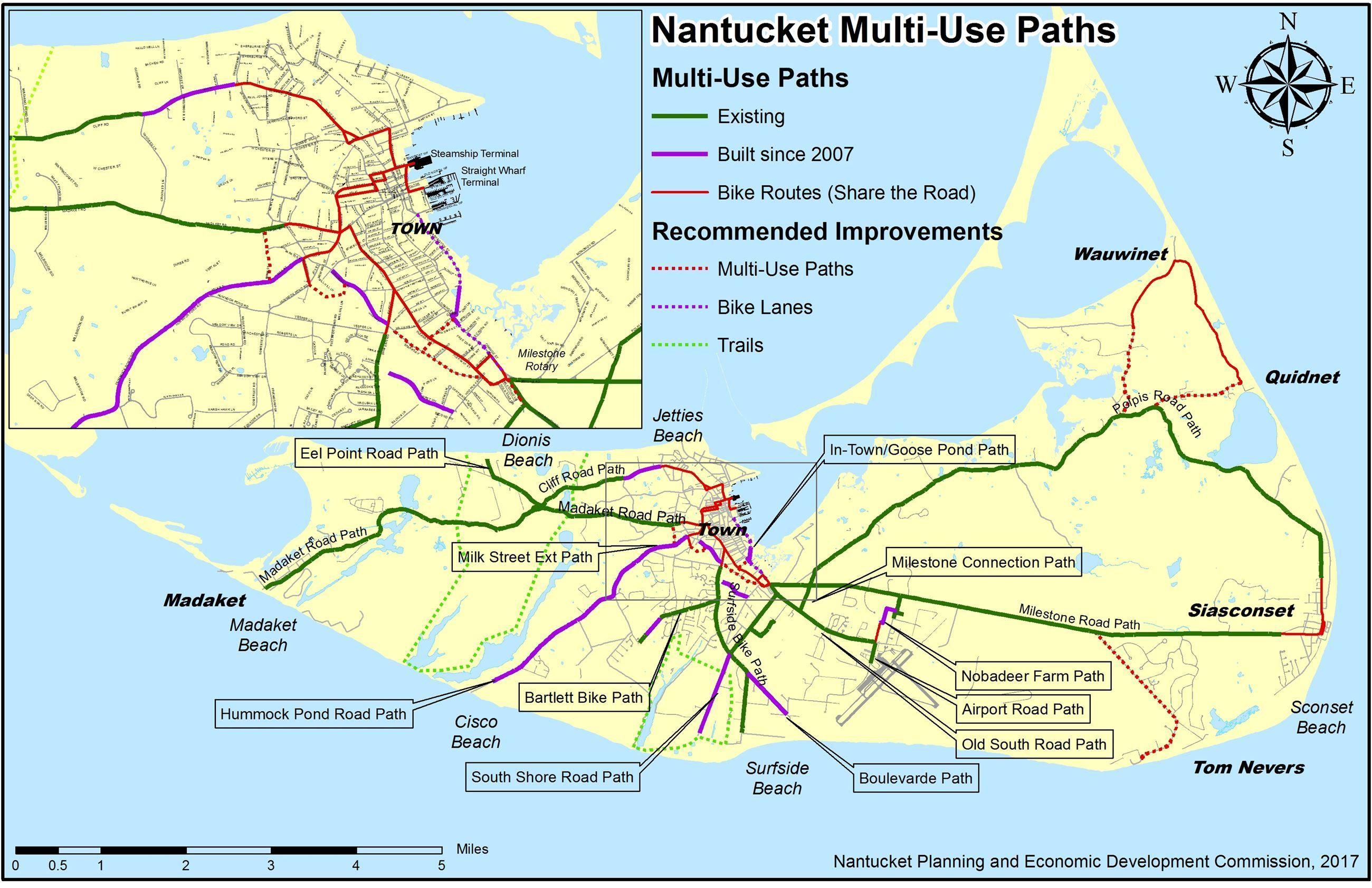 Nantucket Bike Path Map With Images Bike Path Nantucket Bike
