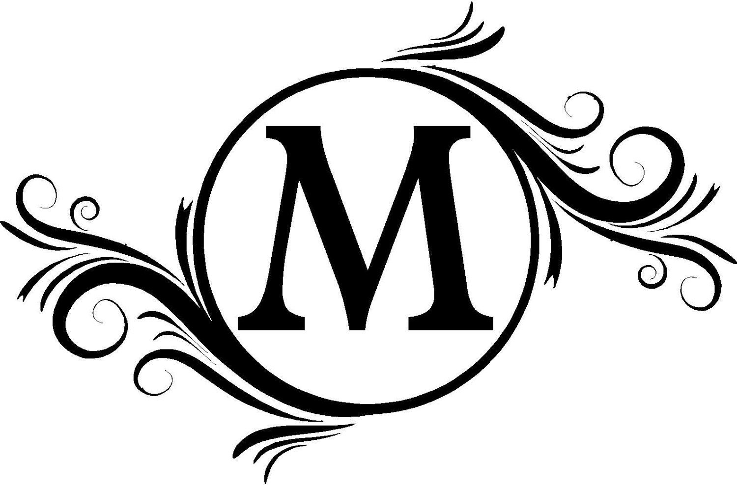 Monogram Initials Swirly Frame Wall Decals Vinyl Lettering