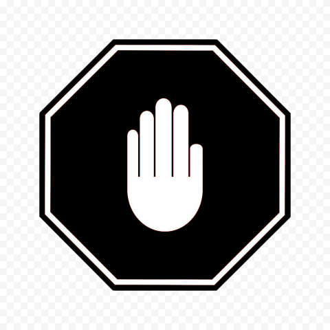 Hd Black And White Stop Hand Sign Icon Symbol Png Symbols Black And White Signs
