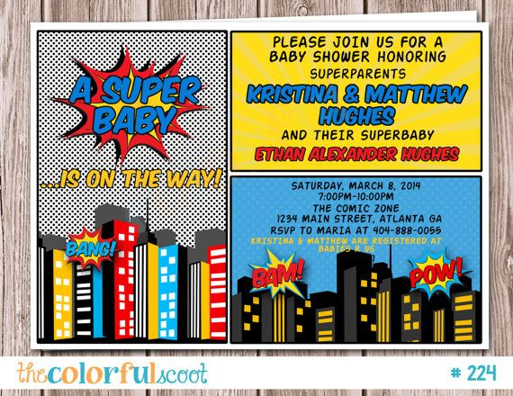 Superhero Baby Shower Invitation Superhero By TheColorfulScoot, $13.00
