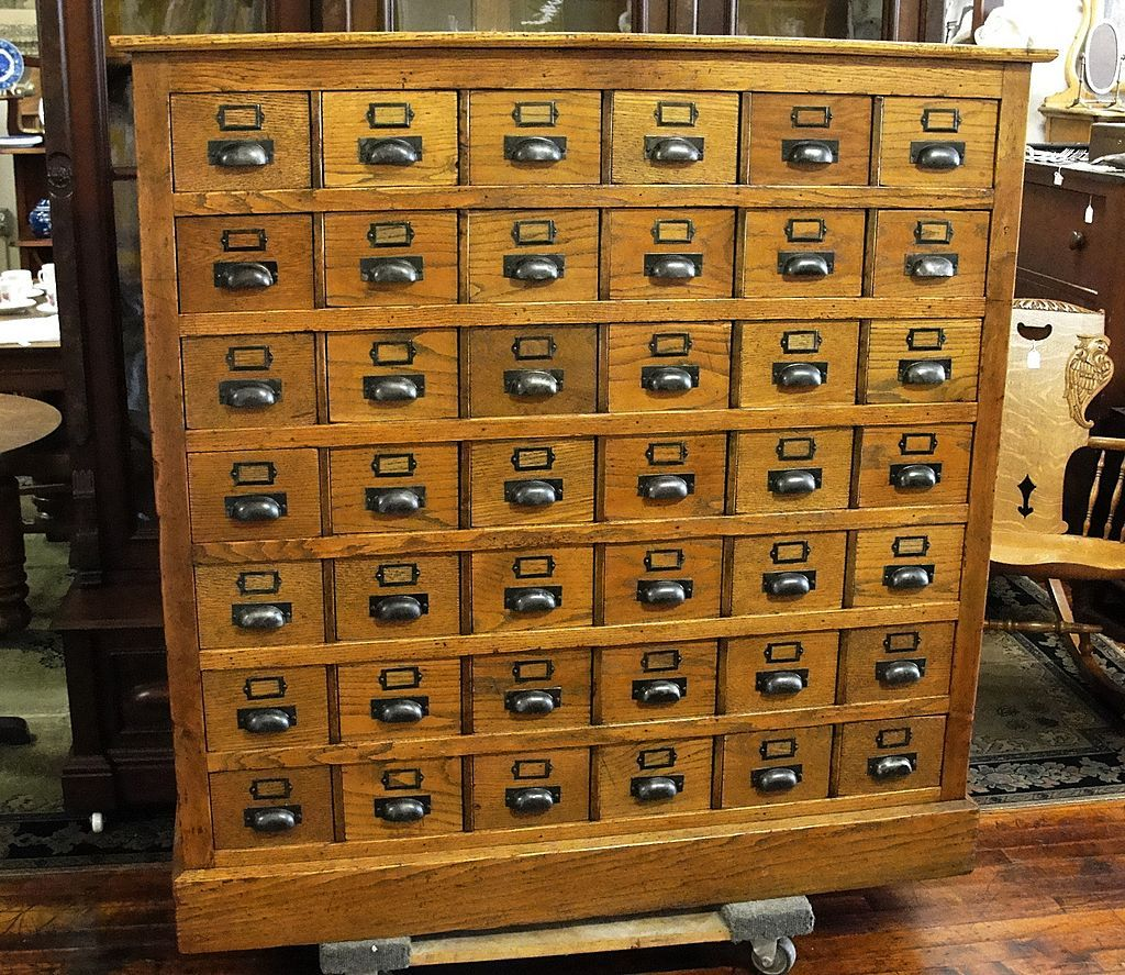 Oak Library Card File with 48 Drawers pick me up off