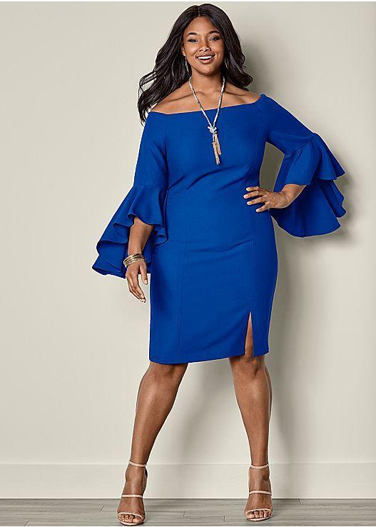 Sleeve detail dress in 2019   Plus Size Fashion   Dresses, Blue plus ...