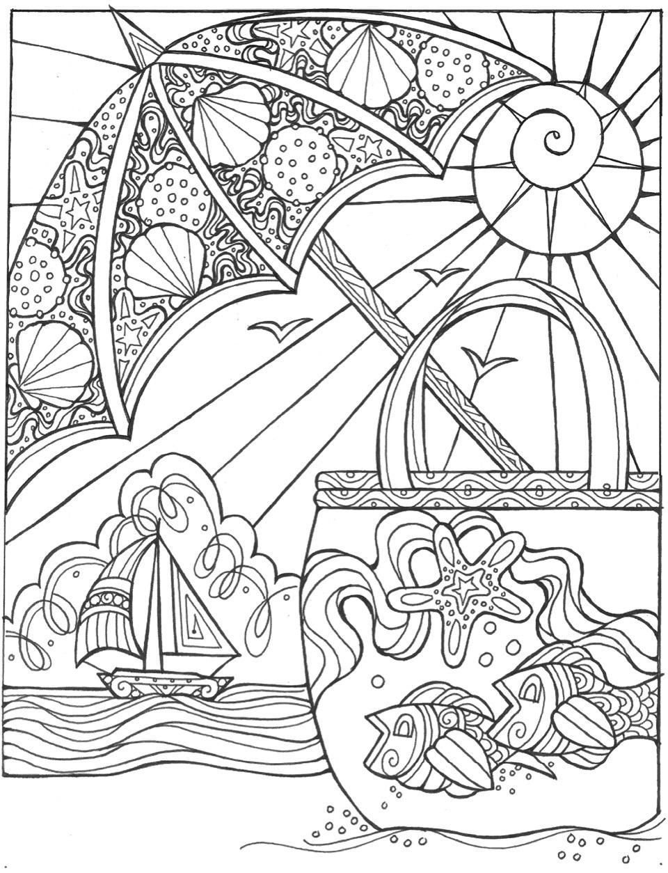 Summer Escape Beach Umbrella Coloring Page  Summer coloring pages