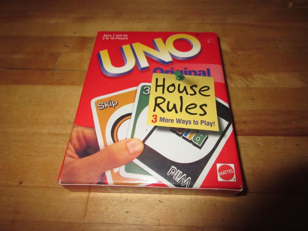 Uno Original Card Game - BRAND NEW With HOUSE Rules 1998