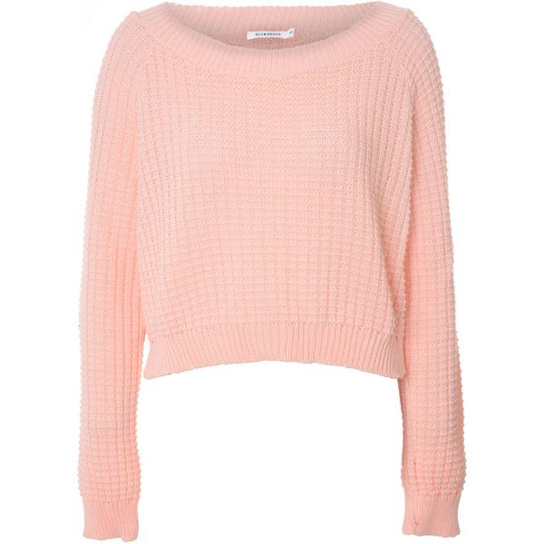 Light Pink Cropped Waffle Knit Jumper found on Polyvore featuring tops,  sweaters, shirts,