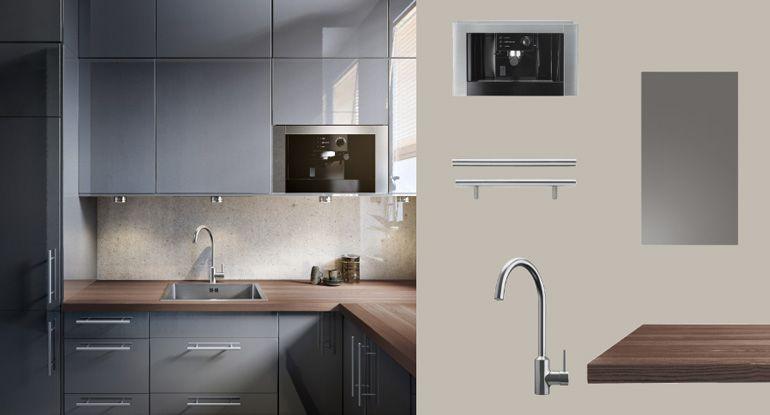 Faktum cuisine avec abstrakt portes tiroirs brillant gris et lansa poign es acier inoxydable - Porte cuisine ikea faktum ...