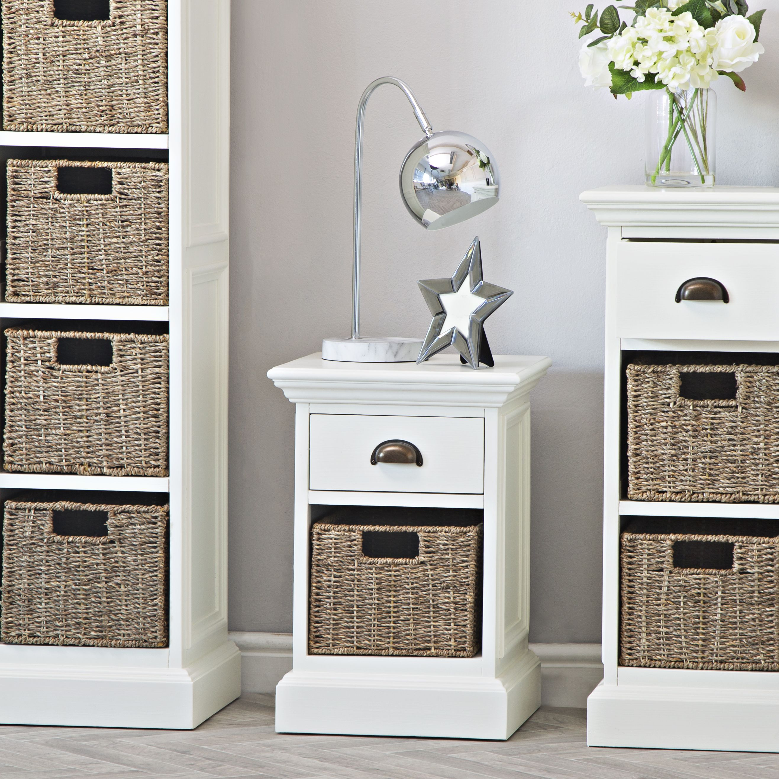 Monaco White Wicker 1 Drawer 1 Basket Unit White Wicker Wicker Decor