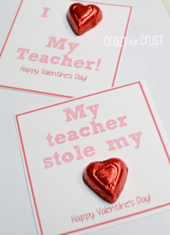 I Heart My Teacher Valentine Printable - Crazy for Crust
