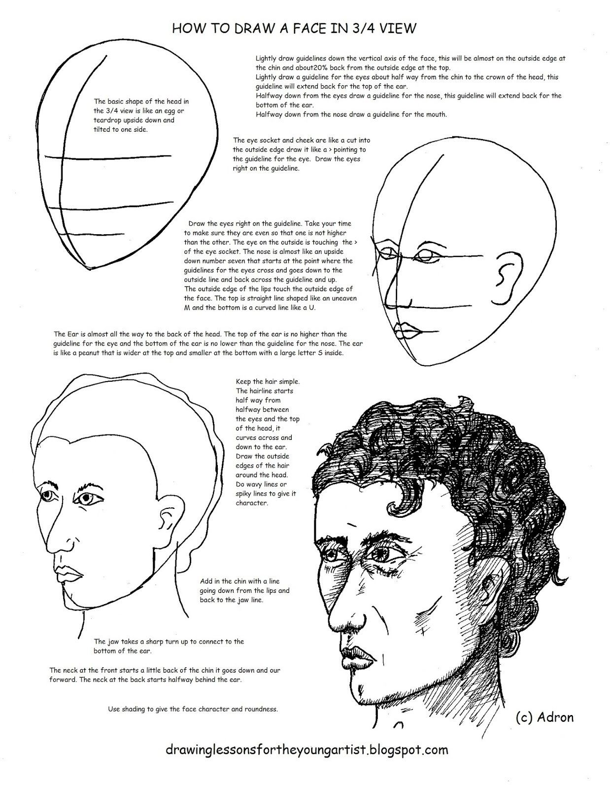 How To Draw A Face In 3 4 View Male Face Shading Faces Young Artist