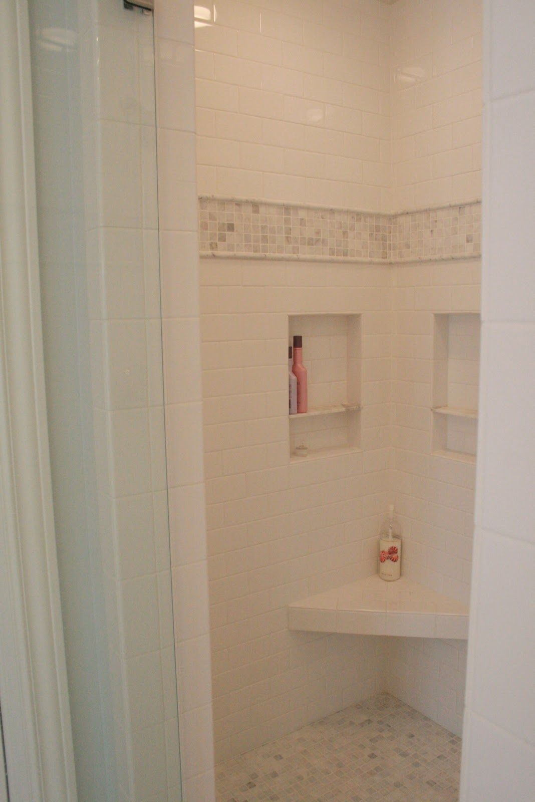 Ceramic bathroom tile acquerelli shower fixtures for sale too - Subway Tile With Carrera Marble Border