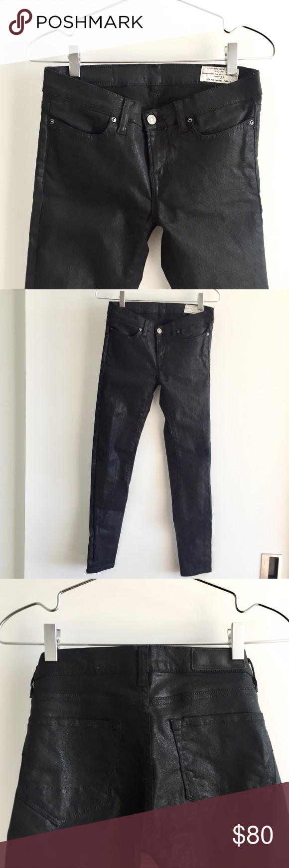 All Saints Coated Black Skinny Jeans w/ Ankle Zips Coated black skinny jeans from All Saints. Low-rise waist, minimal stretch denim, with short zippers at the ankle opening. The size is labeled as 27 but I would say fits more like a small 26. Rarely worn, very good condition. All Saints Jeans Skinny