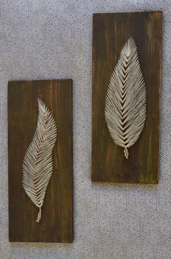 Set of 2 string art feather nail by thecopperfeatherco awesome set of 2 string art feather nail string thread wood home decor wall art unique copper distressed handmande customize prinsesfo Gallery