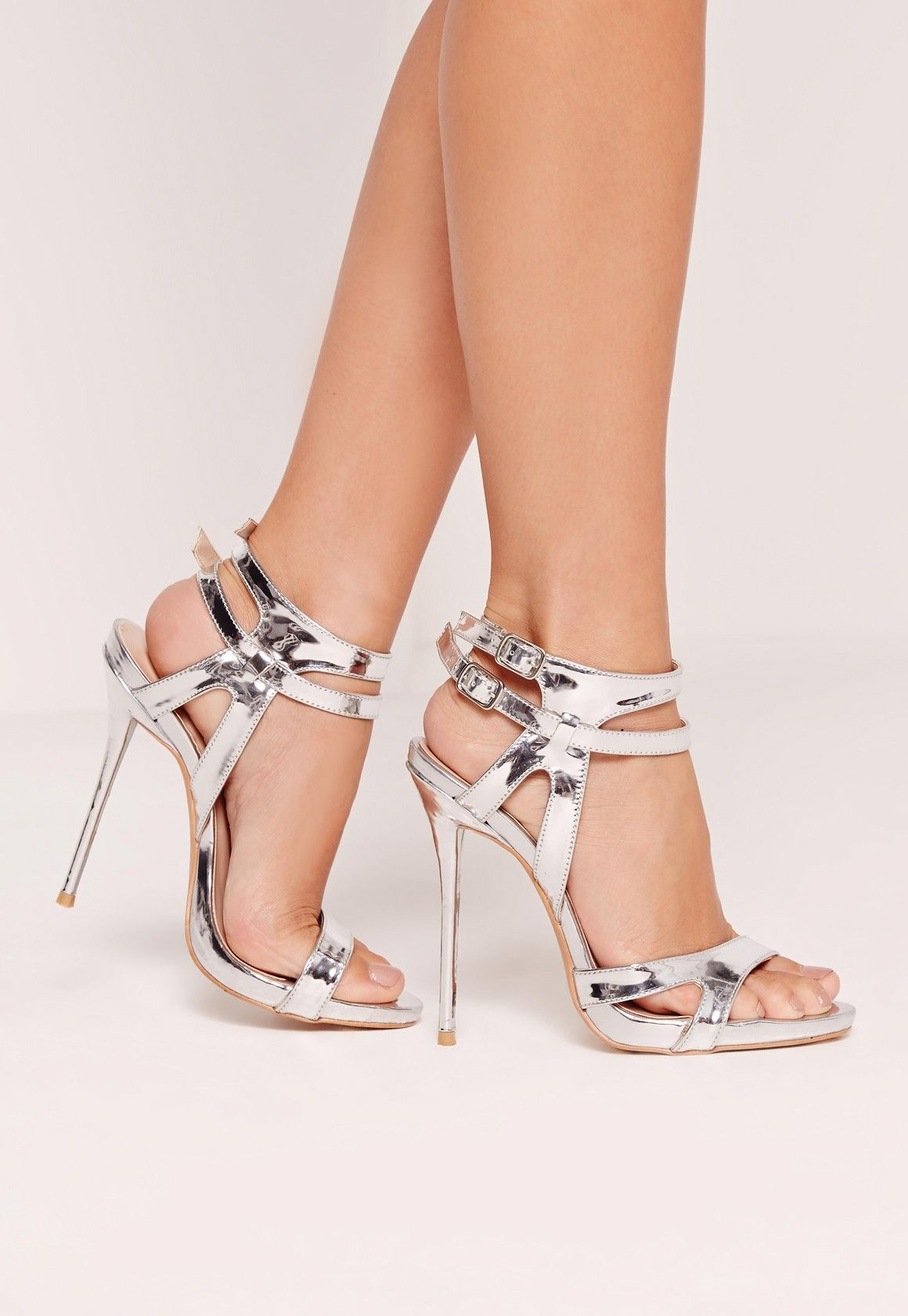 Barely There Heeled Sandals - Silver Missguided WR6tmuF5