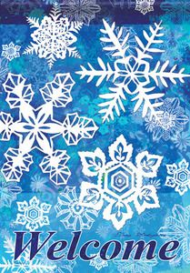 Ice Blue Snowflakes House Flag Description Welcome Cold Weather Visitors With This Gorgeous Iced Blue House Flag Fea Winter Snowflakes House Flags Flag Decor