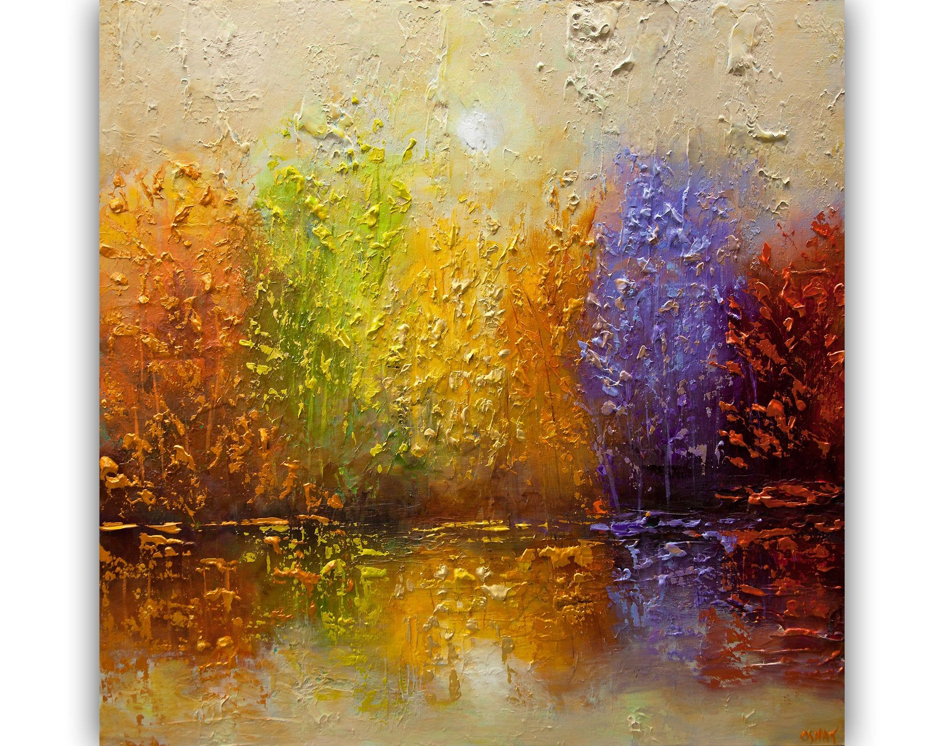 Modern Colorful Abstract Painting Textured Blooming Trees Painting Colorful Forest Wall Art Large Landscape Painting By Osnat In 2020 Large Landscape Painting Colorful Abstract Painting Forest Wall Art