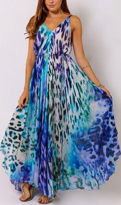 Blue Animal Tie-Waist Maxi Dress
