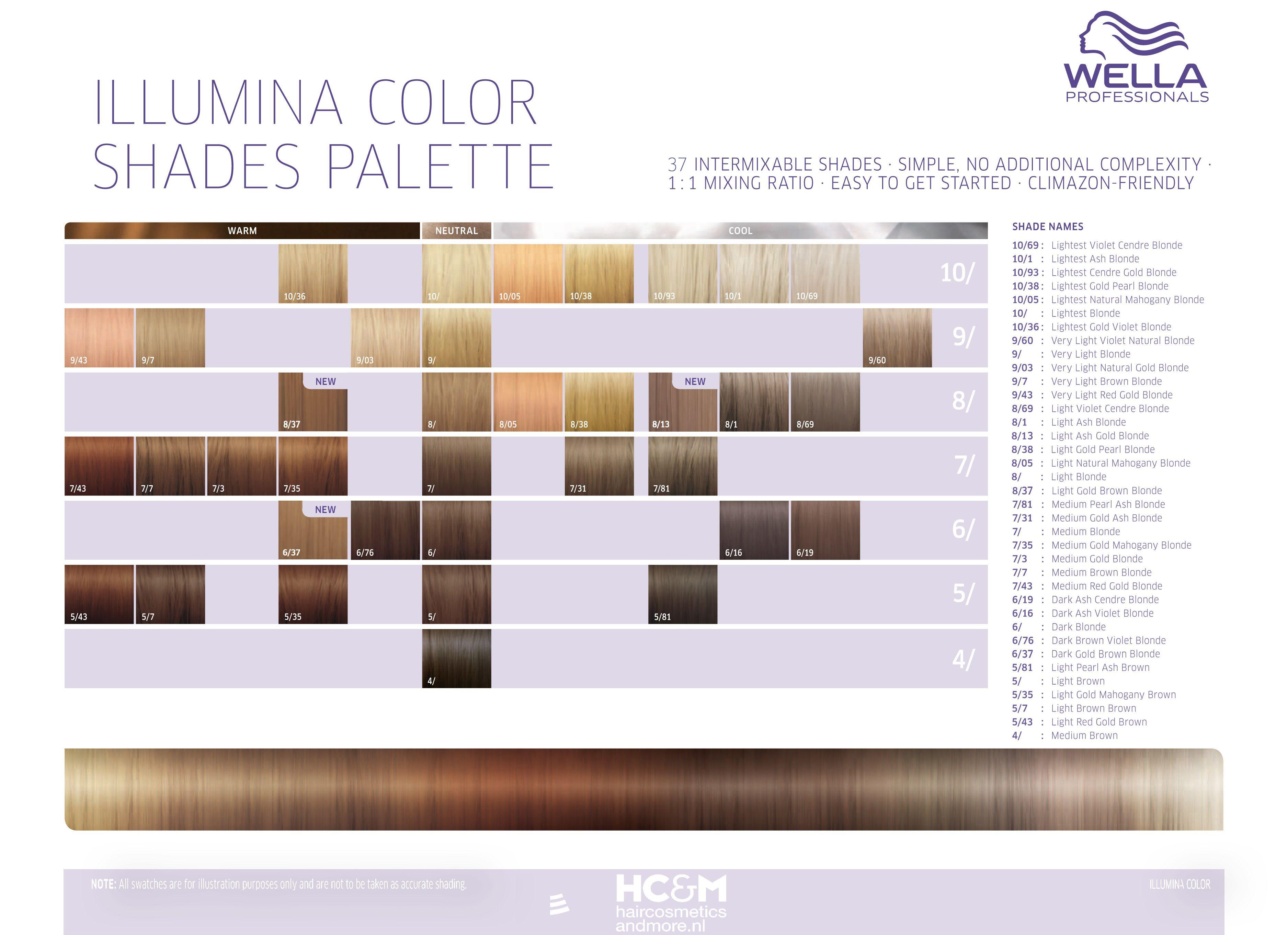 Wella Professionals Illumina Color Shades Palette 37 Shades Color