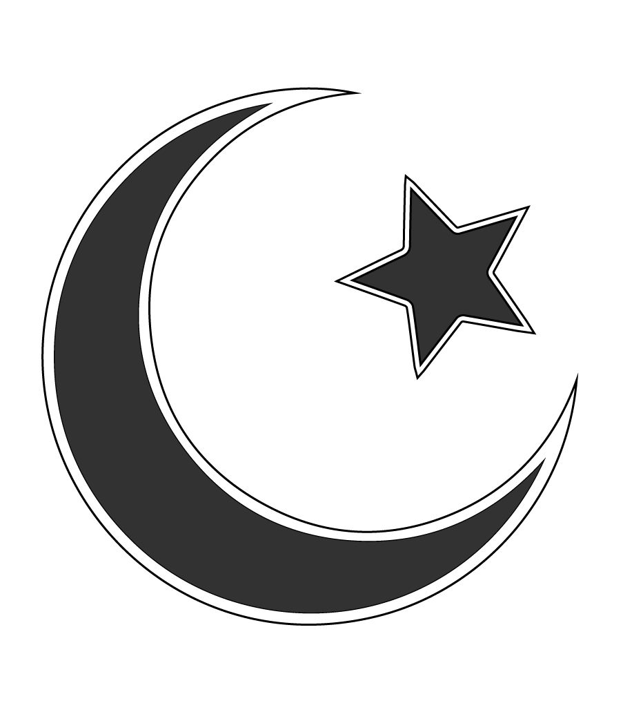Crescent Moon and Star, the Symbol of Islam, Religious