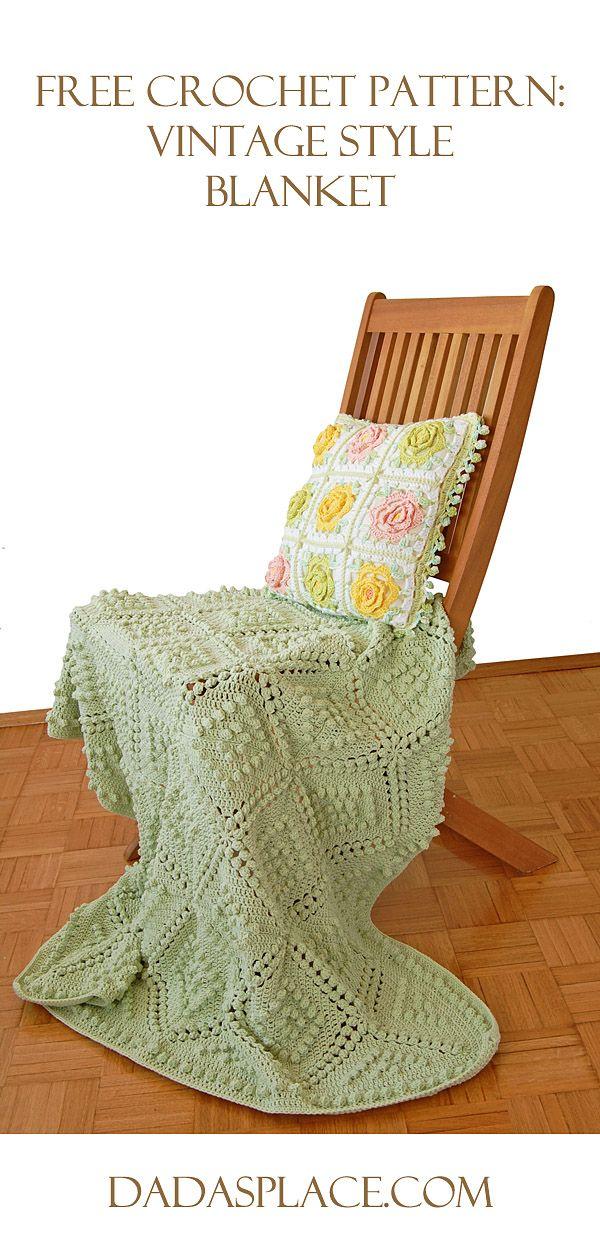 Free Crochet Pattern: Vintage Style Blanket by Dada's place