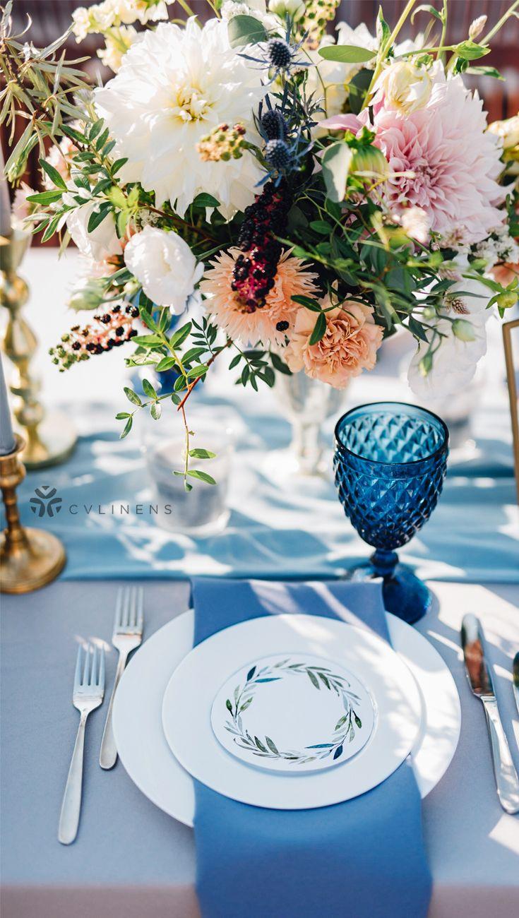 Dusty blue wedding reception table real wedding, dusty