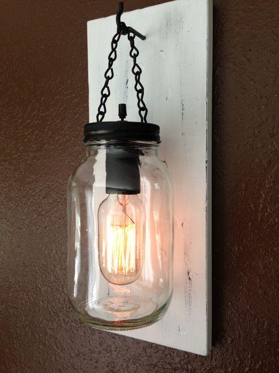 Vintage White Rustic Mason Jar Wall Light/ Sconce Light ...