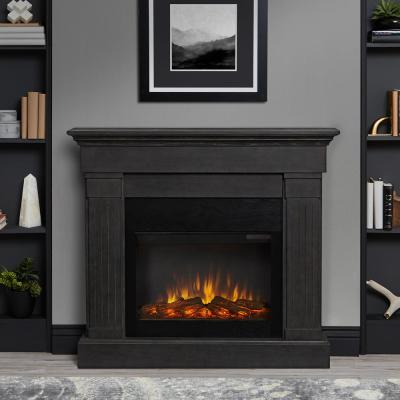 Home Decorators Collection Highland 50 In Faux Stone Mantel Electric Fireplace In Gray 103058 The Home Depot Electric Fireplace Electric Fireplace With Mantel Indoor Electric Fireplace
