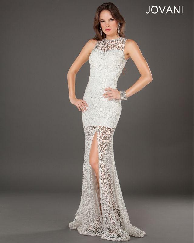 94eb431c08aad Charming Scoop Neck Openwork Lace Flower Women's Mermaid Front Slit Pretty  Angel Prom Dress (WHITE