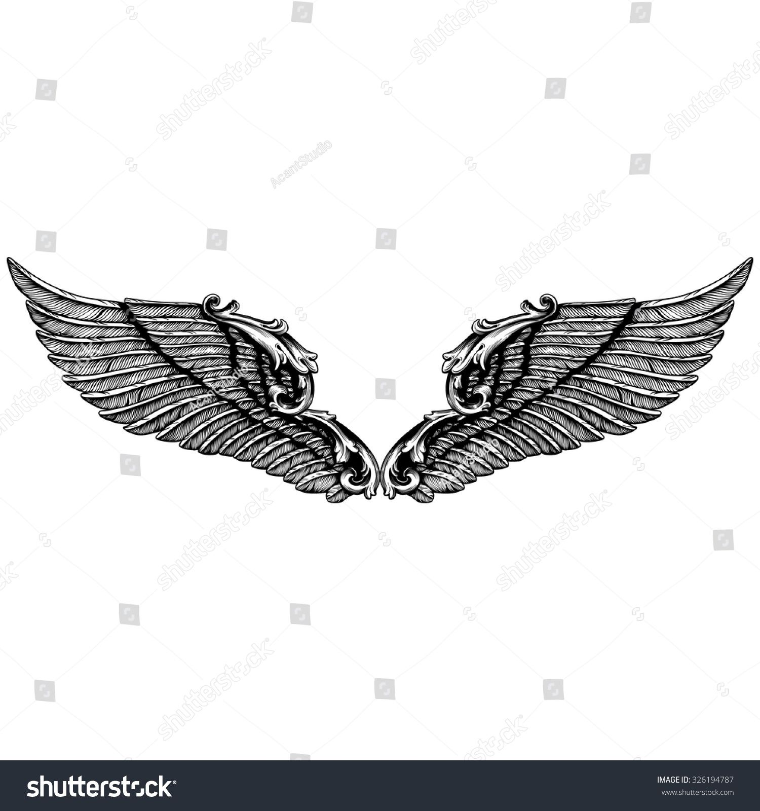 5a4051695 Hand drawn angel wings   illustration of a pair of angel or eagle wings  spread. Angel or bird wings abstract sketch set isolated vector illustration