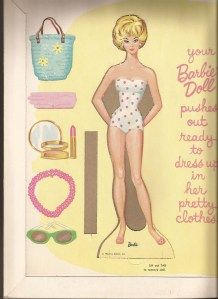 1962 bubble cut Barbie paper doll.