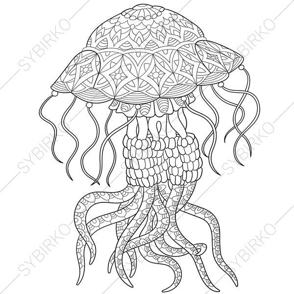 Adult Coloring Pages Jellyfish Zentangle Doodle Coloring Pages For Adults Digital