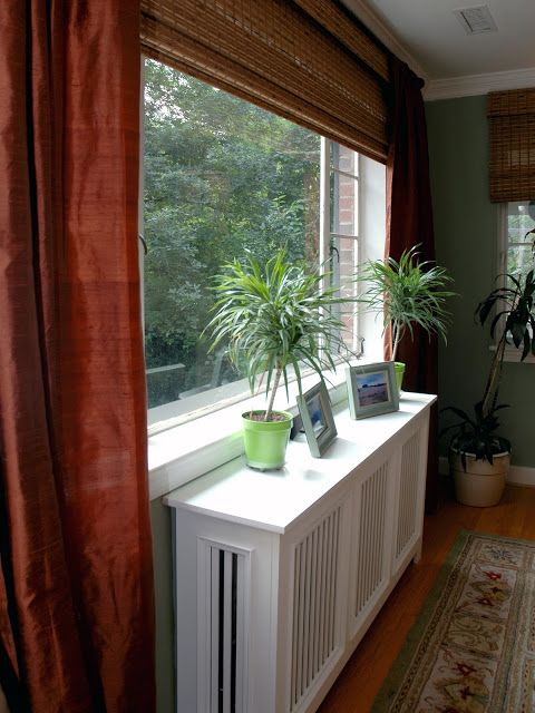 One Long Bamboo Shade Plus Curtains On Each Side For The