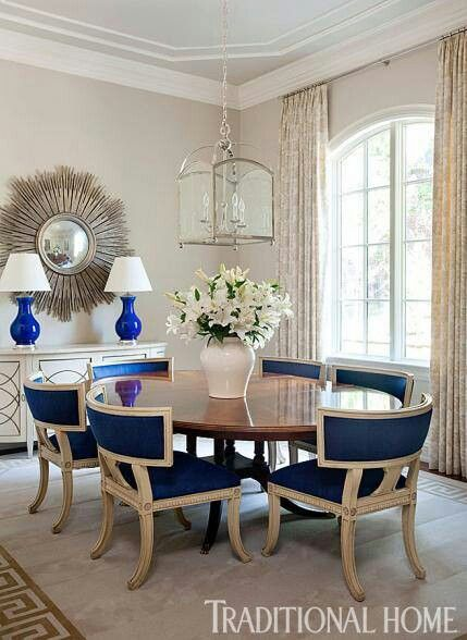Lovely dinning room with blue accents  Wainscotingamerica