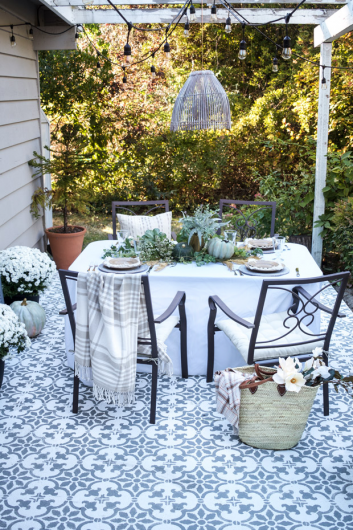 Add Pattern To Your Patio Using A Tile Stencil Home Pinterest