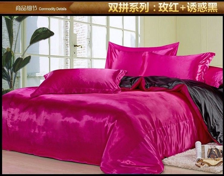 Black And Hot Pink Silk Satin Bedding Comforter Set King Queen