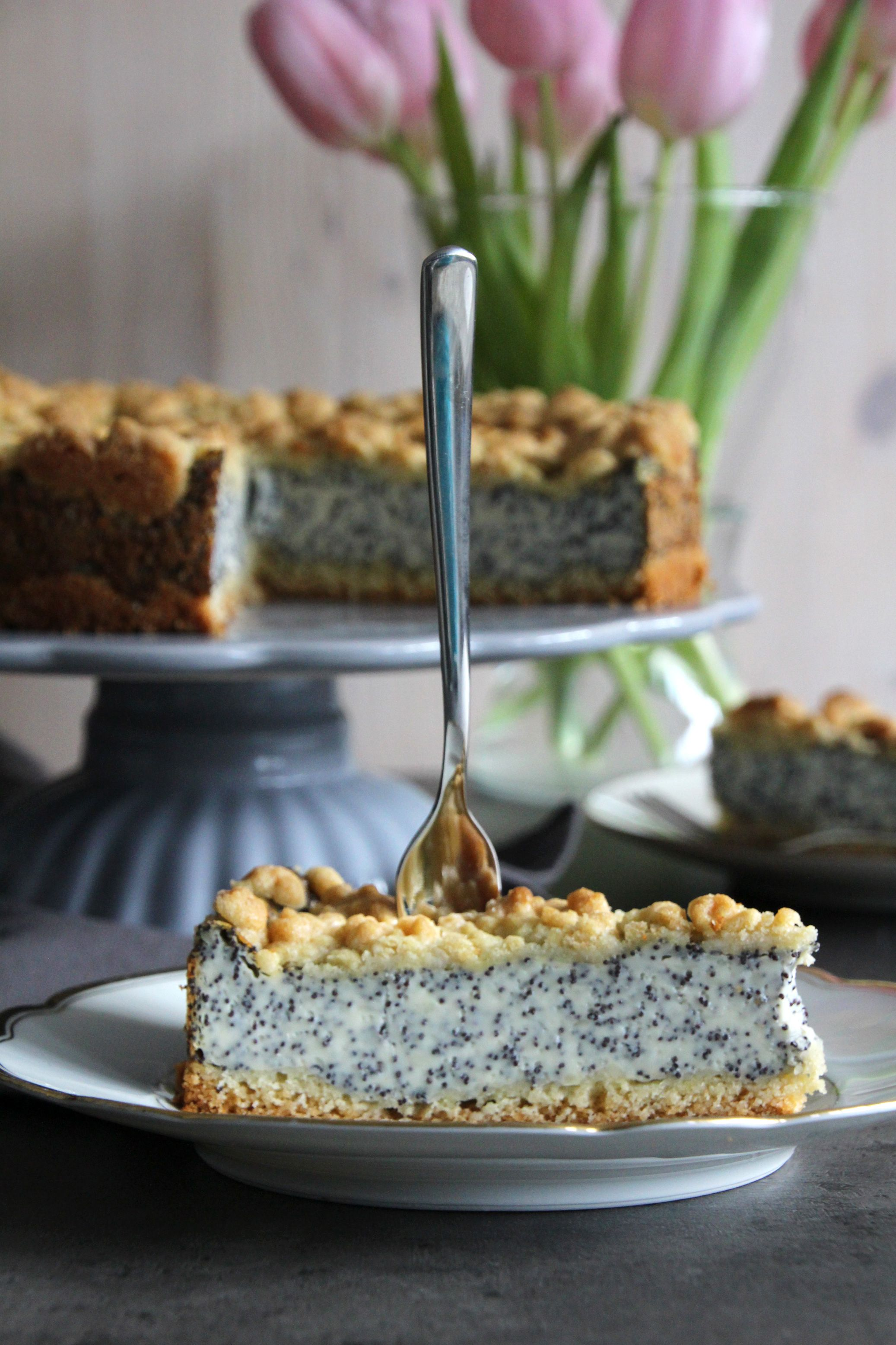 Photo of Poppy seed cake with pudding and sprinkles