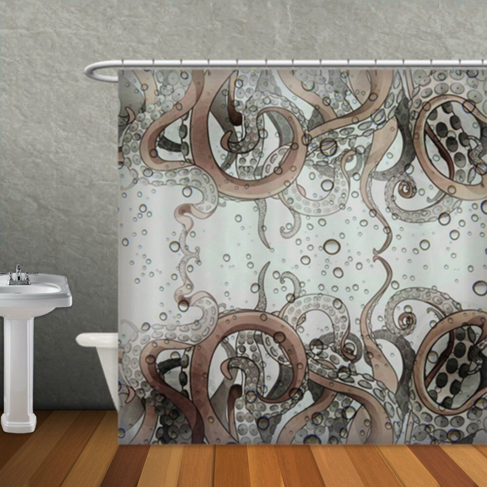 Octopus shower curtain etsy - Octopus Tentacle Shower Curtain Gray And Tan
