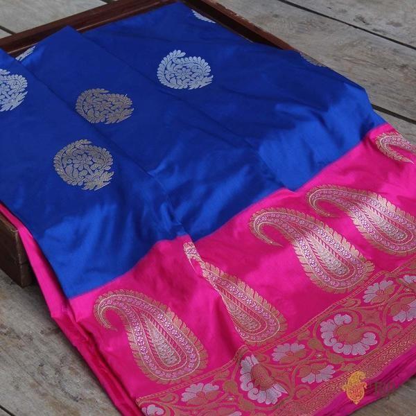 6a06f05581 Royal Blue-Pink Pure Katan Silk Banarasi Handloom Saree | 5 yards of ...