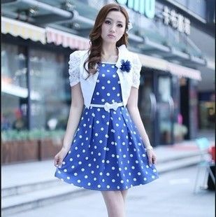 2012 preppy style twinset one-piece dress tank dress small cape young girl dot one-piece dress