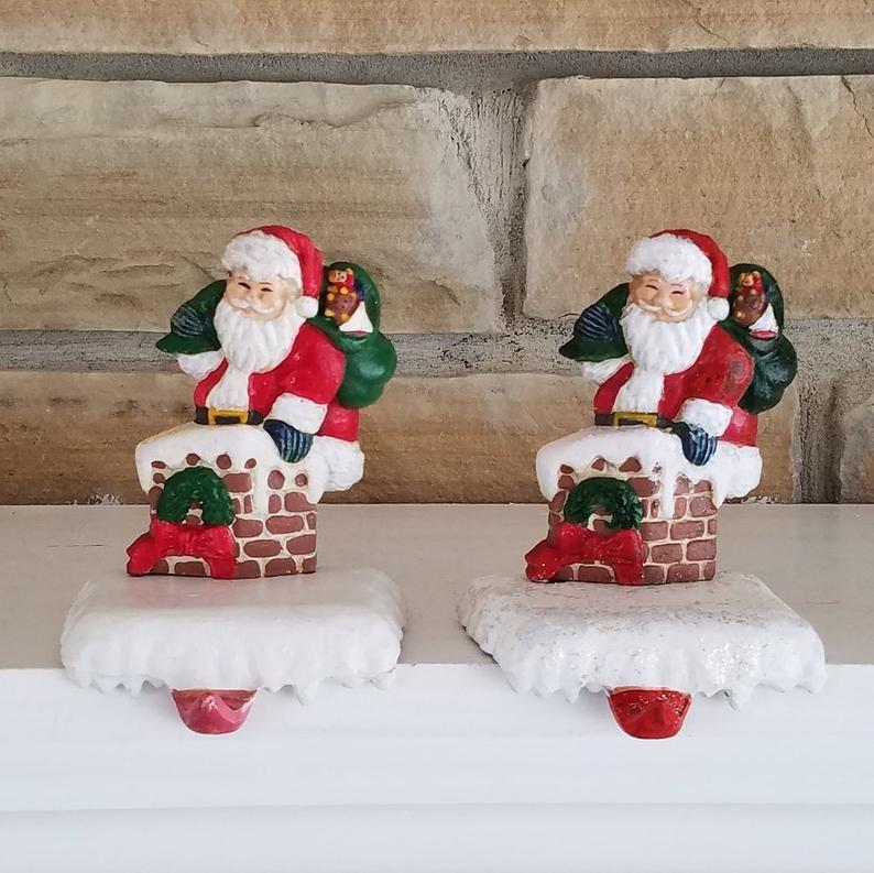 Pair Of Vintage Cast Iron Christmas Stocking Holders Hangers Etsy Christmas Stocking Holders Vintage Christmas Stockings Christmas Stockings