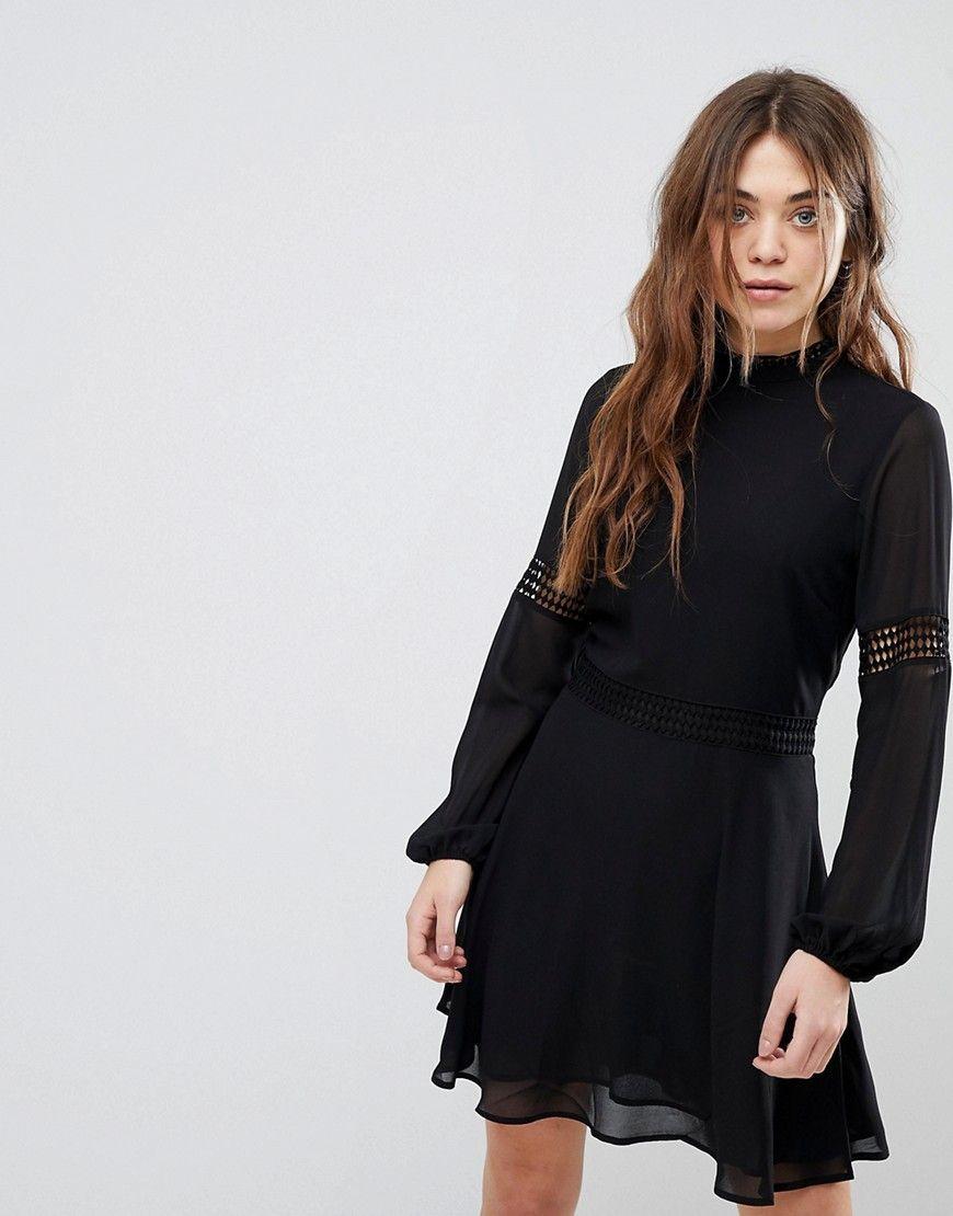 New look crochet insert high neck dress black pinterest