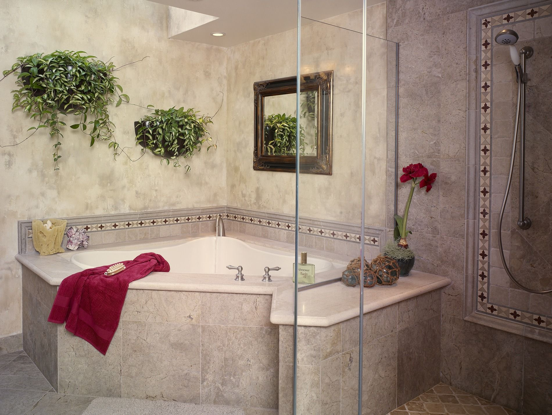 Corner Shower With Corner Tub Accent On Design Bathrooms