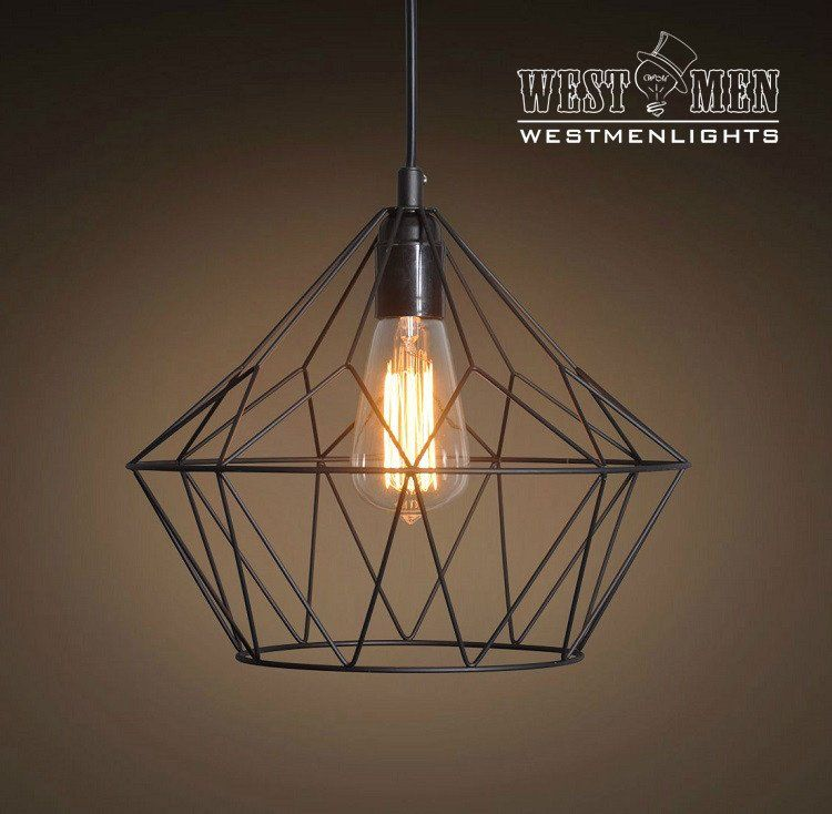 Vintage industrial iron cage pendant light hanging lamp art deco grid bell 1 light metal pendant light westmenlights electric lighting designer home accents supplier art deco aloadofball Image collections