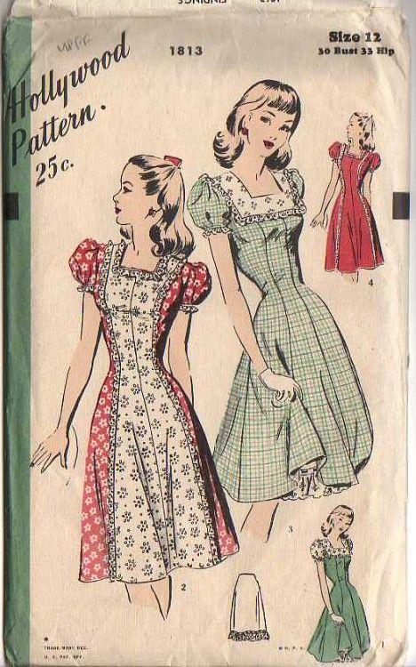 Hollywood 1813 Vintage Clothes Patterns Vintage Sewing Patterns Vintage Dress Patterns