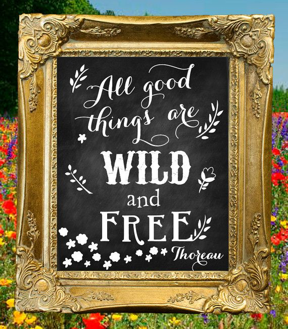 All Good Things are Wild and Free- Thoreau  Chalkboard Sign